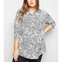 Curves White Animal Print Long Sleeve Shirt New Look