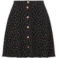 Black Spot Button Up Mini Skirt New Look