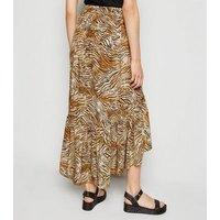 Brown Tiger Print Ruffle Midaxi Wrap Skirt New Look