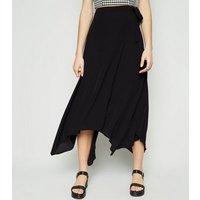Black Hanky Hem Wrap Skirt New Look