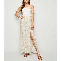 White Paisley Split Hem Maxi Skirt New Look