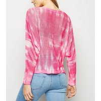Cameo Rose Pink Tie Dye Fine Knit Jumper New Look