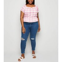 Curves Pink Check Milkmaid Top New Look