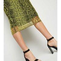 Yellow Neon Snake Print Side Split Skirt New Look