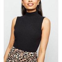 Petite Black Ribbed Sleeveless Bodysuit New Look