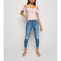 Petite Pink Ribbed Button Front Bardot Top New Look