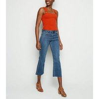 Red Ribbed Square Neck Crop Top New Look