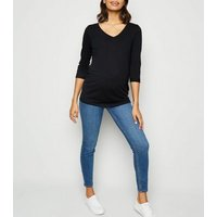 Maternity Black V Neck 3/4 Sleeve Top New Look