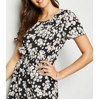 Tall Black Daisy Shirred Waist Dress New Look