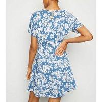 Tall Blue Daisy Smock Dress New Look
