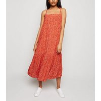 Petite Red Ditsy Floral Smock Midi Dress New Look