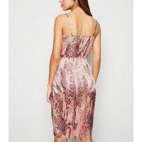 Pink Neon Satin Snake Print Dress New Look
