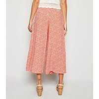 Red Ditsy Floral Crop Wide Leg Trousers New Look