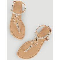 Stone Faux Snake Ring Strap Flat Sandals New Look Vegan