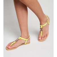 Yellow Neon Ring Strap Flat Sandals New Look