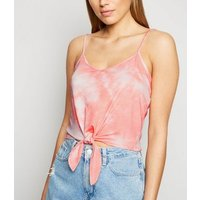 Coral Tie Dye Knot Front Cami New Look