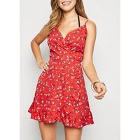 Red Ditsy Floral Wrap Mini Dress New Look
