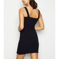 Black Buckle Ribbed Bodycon Dress New Look
