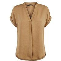 Camel Short Sleeve Overhead Shirt New Look