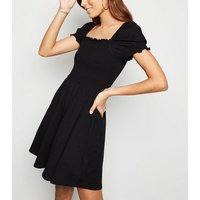 Black Shirred Jersey Milkmaid Dress New Look