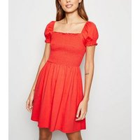Red Shirred Jersey Milkmaid Dress New Look