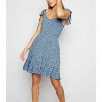 Blue Ditsy Floral Shirred Milkmaid Dress New Look