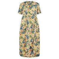 Curves Yellow Tropical Print Wrap Midi Dress New Look