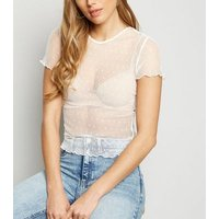 White Spot Mesh Frill Trim T-Shirt New Look