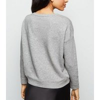 Petite Grey Marl Long Sleeve Sweatshirt New Look