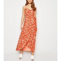 Red Leaf Print Maxi Wrap Skirt New Look