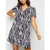 Blue Vanilla Black Zebra Print Mini Dress New Look