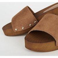 Tan Premium Suede Wood Mules New Look