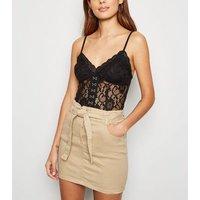 Parisian Camel Denim Paperbag Mini Skirt New Look