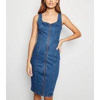 Blue Zip Front Denim Bodycon Midi Dress New Look