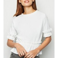 Cameo Rose Cream Short Sleeve Frill Trim T-Shirt New Look