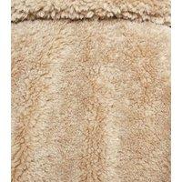 Camel Patch Pocket Teddy Coat New Look