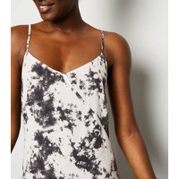 Black Tie Dye Bias Cut Midi Slip Dress New Look