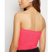 Bright Pink Neon Ribbed Bandeau Bodysuit New Look