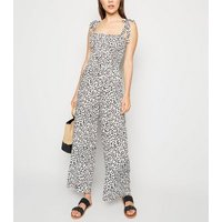 White Leopard Print Tie Strap Shirred Jumpsuit New Look