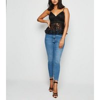 Petite Black Lace Strappy Peplum Top New Look