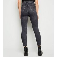 Black Washed High Waist Super Skinny Hallie Jeans New Look