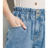 Petite Blue Paperbag Denim Shorts New Look