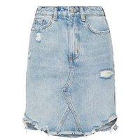 Blue Vintage Wash Ripped Denim Mom Skirt New Look