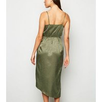 Khaki Satin Spot Jacquard Midi Dress New Look
