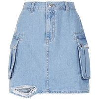 Blue Utility Pocket Denim Skirt New Look