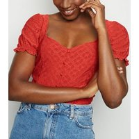 Red Broderie Button Front Milkmaid Top New Look
