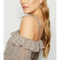 White Spot Shirred Ruffle Trim Bardot Top New Look