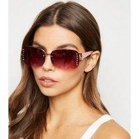 Pink Diamanté Rimless Sunglasses New Look