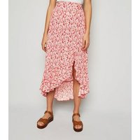Red Floral Button Ruffle Midi Skirt New Look