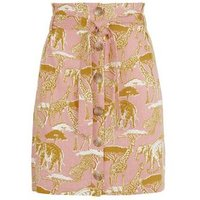 Pink Animal Print Linen Blend Paperbag Skirt New Look